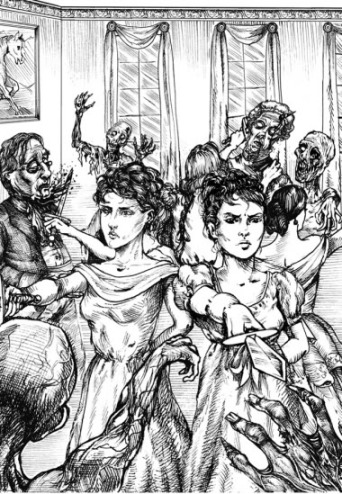 """""""Mr. Darcy watched Elizabeth and her sisters work their way outward, beheading zombie after zombie as they went."""" Illustration from the book."""